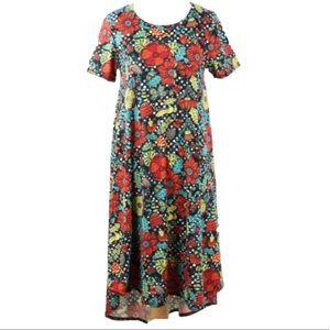 LuLaRoe Dresses - 🔴4 FOR $30🔴LuLaRoe Dot Floral Print Carly Dress